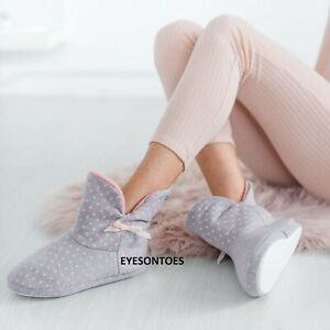 LADIES WOMENS ANKLE WARM WINTER BOOTIE SOFY BOOT COMFY BOW SLIPPERS SHOES SIZE
