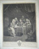 VAN SCHALCKEN (1643-1706) GRANDE GRAVURE XVIII° SCENE MUSIQUE VIOLON HOMME FEMME