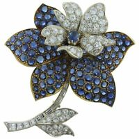 Blue Sapphire & Diamond Flower Brooch Two-Tone Yellow & White Gold 15.7‬0ctw