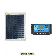 Kit Solare Fotovoltaico pannello 20W 12V Regolatore PWM 10A Nvsolar Camper Casa