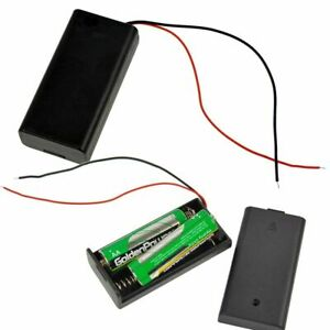 1Pcs 2AAA Battery 3V Holder Box Case with ON/OFF Switch Black Battery Cover