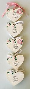 5 Hanging Wood Hearts Hand Painted Love is Patient Kind Trusts Hopes Never Fails
