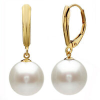 12MM White South Sea Shell Pearl Gold Plated Drop Dangle Fashion Earrings