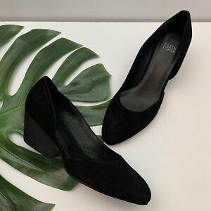 Eileen Fisher D'Orsay Heels Size 9 Black Suede Block Heel Almond Toe Slip On