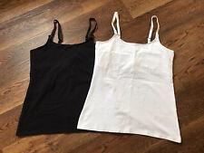 2 x H&M Mama Nursing Vest tops UK size M Black and White