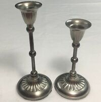 Pair Solid nickel Plated Brass Candle Holders Contemporary Home Decor #3