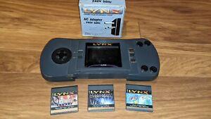 Atari Lynx 1 Handheld Console PAG-0201 With 3 Games & PSU
