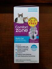 New! Comfort Zone Multi-Cat Diffuser Refill for Cats & Kittens 1.62 Fl Oz x 3