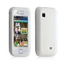 Housse étui coque silicone pour Samsung Wave 575 S5750 blanc translucide