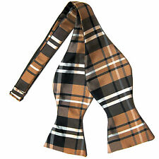 New men's self tie free style bowtie plaid & checkers formal wedding brown gray