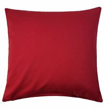 Quarr Rojo Liso Algodón Aspecto Y Tacto Grueso Funda de Cojín Suave 45.7cm-45CM