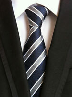 Fashion Men's Silk Tie JACQUARD WOVEN Ties Navy Stripe Style Gift Necktie