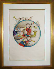 "Large Rodo Boulanger Original Color Lithograph ""Circle of Musicians"" Hand Signed"