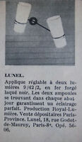 PUBLICITÉ DE PRESSE 1958 APPLIQUE RÉGLABLE LUNEL - ADVERTISING