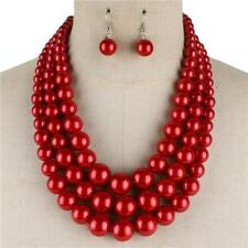 """18"""" Adjustable 3 Layered Red Pearl Beaded Necklace w Matching Dangling Earrings"""