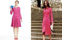 Boden Marilyn Magenta Apple Print Jersey Fit Flare Dress Keyhole Neckline UK 12