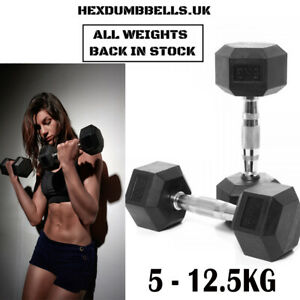 2x 5-12.5KG Hex Dumbbells Cast Iron Weights Pairs Hexagonal Rubber Encased Sets
