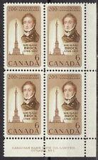 CANADA #501 6¢ Sir Isaac Brock LR Plate Block MNH