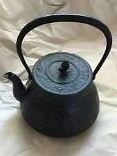 Antique Asian Japan Nambu Tekki Tetsubin  iron tea kettle pinecone&crane10""