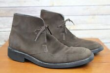 Gucci Brown Suede Leather Mens Moc-Toe Ankle Boots Size 9 D Italy Pre-Owned