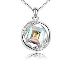 Womens White AB Diamond Crystal Rhinestone Silver Chain Pendant Necklace T1/22
