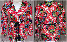 70s Red Baroque Floral Print Vasserette Tassel Rope Belt Top Bed Jacket