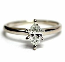 EGL USA 14k white gold .51ct marquise diamond SI1 G engagement ring 2g vintage