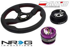 "NRG 320mm 1.5"" DP Race Leather Steering Wheel Red St 140H Hub 2.0 Purple Release"