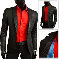 Men's Quilted Blazer Jacket Casual Formal Plain Black Leather Finish Slim Fit