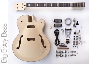 DIY Electric Bass Guitar Kit - Hollow Body Bass Build Your Own Bass Kit