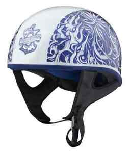 Harley-Davidson® Unisex Foile Low Profile J06 Half Helmet, White/Blue 98192-20VX
