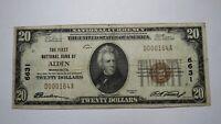 $20 1929 Alden Minnesota MN National Currency Bank Note Bill Ch. #6631 Fine