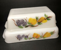 Set of 2 VTG Fire King Gay Fad Painted Fruit Rectangle Baking Casserole Dishes
