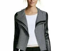 Vince Black Leather Sleeve Gray Tweed Boucle Moto Jacket Coat Size Small