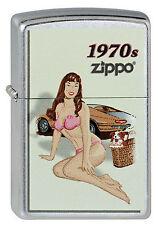 ZIPPO Feuerzeug PINUP GIRL 1970 Street Chrome Sexy Girl 70er Jahre NEU OVP