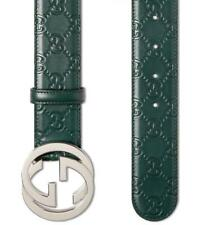 NEW GUCCI GUCCISSIMA GREEN LEATHER INTERLOCKING G PALLADIUM BUCKLE BELT 115/46