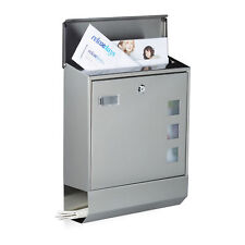 Briefkasten Edelstahl mit Zeitungsfach Namensschild Wandbrieflasten Postkasten