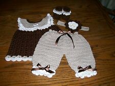 Handmade Crocheted Baby Girl Outfit. Brown, Tan, White. Fits approx. 3-6 mo.