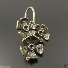 Earrings 3 Flowers Charm Dangle Earwear 8 pcs Antiqued Bronze Color Brass Hook