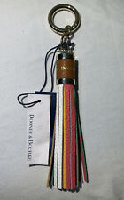 Dooney & Bourke Sammi Tassel Leather Key Ring Chain Fob Multi Color Purse Charm