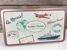 Cavallini & Co Wooden Rubber Stamps Vtg Travel Set of 8 w/Pad & Tin Au Revoir