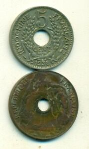 2 OLDER COINS from FRENCH INDO-CHINA - 1 & 5 CENTS (BOTH DATING 1938)