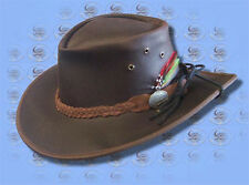 RAINRIDER Oiled LEATHER HAT W/ Chinstrap & Feathers inc