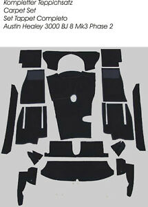 Black velours carpet kit for Austin Healey 3000 MK3 BJ8 Phase 2 LHD  1964-1967