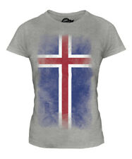 ICELAND FADED FLAG LADIES T-SHIRT TEE TOP ISLAND FOOTBALL ICELANDIC GIFT SHIRT