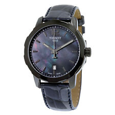 Tissot Quickster Black Mother of Pearl Dial Anthracite Leather Unisex Watch