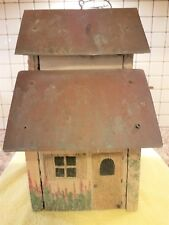 New listing Very Nice Old Birdhouse. Wood With Metal Roof. The Roof Appears To Be Copper.