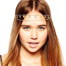 Head Piece Gold Coin Tassel Chain Boho Hair Band Headwear Headband Headdress UK