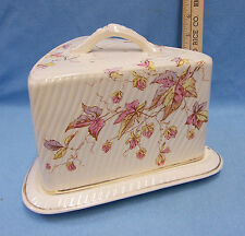 Vintage F&C Ceramic Triangle Covered Cheese Butter Dish Cake Saver Flower Leaf