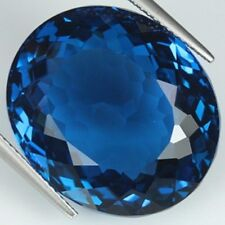 LONDON BLUE TOPAZ NATURAL 12X10 MM OVAL CUT  AAA